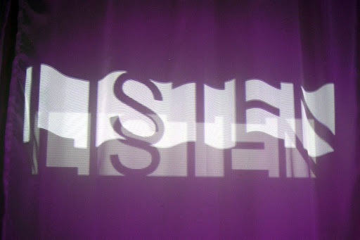 'Listen', a temporary audiovisual installation by Melissa Mostyn and Jon Adams, 2008. Created at inQbate, Brighton, in association with Dada-South, Arts Council England and the University of Brighton